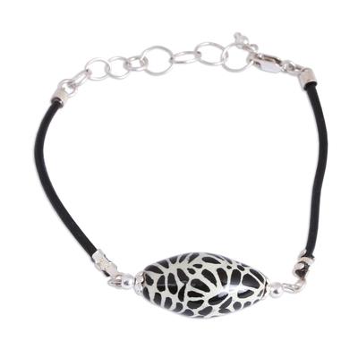 Black Talavera Ceramic and Leather Pendant Bracelet