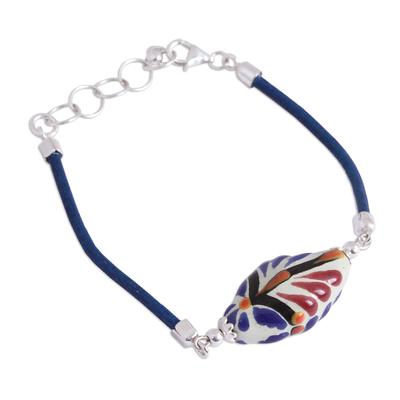 Colorful Talavera Ceramic and Leather Pendant Bracelet