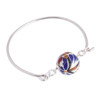 Colorful Talavera Ceramic and Sterling Silver Bracelet