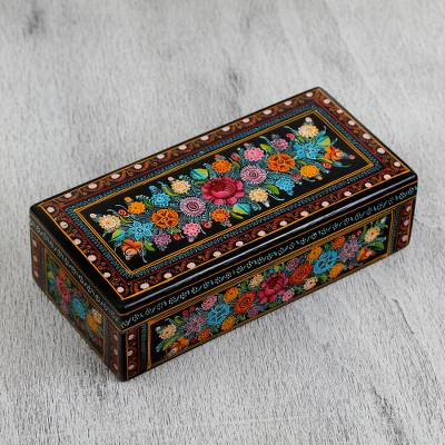 Wood decorative box, 'Dreamy Bouquet' - Multicolored Floral Wood Decorative Box from Mexico