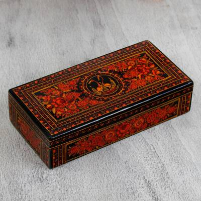 Wood decorative box, 'Bouquet Dream' - Hand-Painted Orange Floral Wood Decorative Box from Mexico