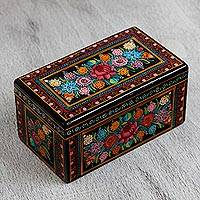 Wood decorative box, 'Colors of the Wind' - Colorful Floral Wood Decorative Box from Mexico