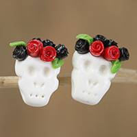 Porcelain button earrings, 'Sweet Skulls in Black' - Black and Red Rose Catrina Cold Porcelain Button Earrings