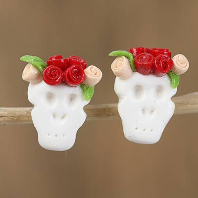 Cold porcelain button earrings, 'Sweet Skulls in Red' - Red and Orange Rose Catrina Cold Porcelain Button Earrings