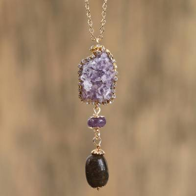 Gold accented quartz pendant necklace, 'Rugged Royal' - Purple Quartz and 14K Gold Plated Steel Pendant Necklace