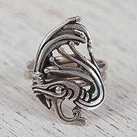 Sterling silver cocktail ring, 'Kukulkan' - Sterling Silver Mayan Deity Kukulkan Cocktail Ring