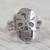 Sterling silver cocktail ring, 'Ancestors Honored' - Sterling Silver Skull with Double Band Cocktail Ring thumbail