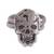 Sterling silver cocktail ring, 'Ancestors Honored' - Sterling Silver Skull with Double Band Cocktail Ring (image 2a) thumbail