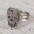 Sterling silver cocktail ring, 'Ancestors Honored' - Sterling Silver Skull with Double Band Cocktail Ring (image 2b) thumbail