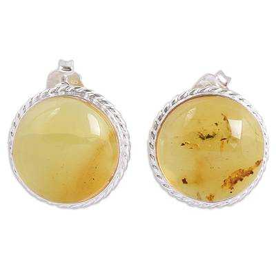 Handmade Natural Amber Button Earrings from Mexico