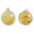 Amber button earrings, 'Round Gold' - Handmade Natural Amber Button Earrings from Mexico (image 2a) thumbail