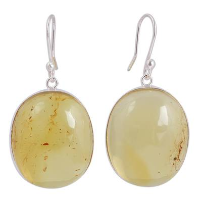 Handmade Natural Amber Dangle Earrings from Mexico