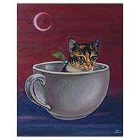 'Coffee Cat' - Signed Painting of a Cat in a Coffee Cup from Mexico