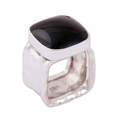 Obsidian Cocktail Ring with a Hammered Band from Mexico
