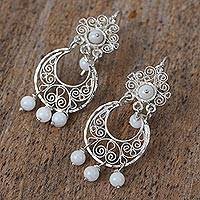 Agate filigree chandelier earrings, 'Glowing Light' - Agate Filigree Chandelier Earrings from Mexico