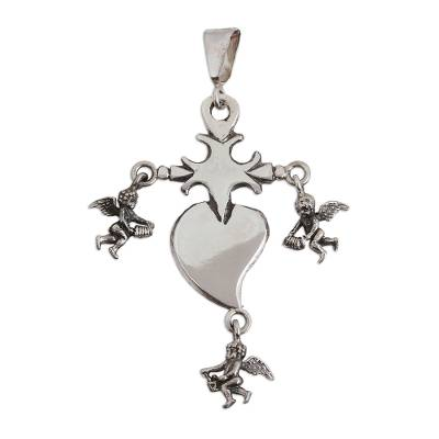Religious Sterling Silver Cross Pendant from Mexico