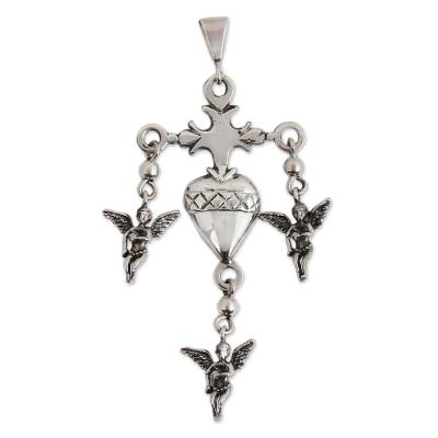 Sterling Silver Heart Cross Pendant from Mexico