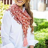 Cotton scarf, 'Subtle Movement in Red' - Brick Red and Pink Handwoven Fringed Scarf with Tassels