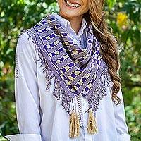 Cotton scarf, 'Subtle Movement in Purple' - Purple and Beige Handwoven Fringed Scarf with Tassels