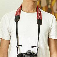 Cotton camera strap, 'Chic Catch' - Leather Reinforced Handwoven Brick Red Cotton Camera Strap