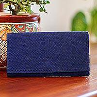 Cotton clutch, 'Modern Moves' - Blue Handwoven Cotton Clutch with Bright Orange Interior