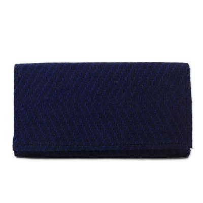 Blue Handwoven Cotton Clutch with Bright Orange Interior
