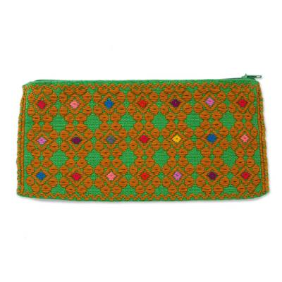 Cotton Clutch in Caramel and Spring Green from Mexico