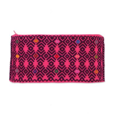 Cotton Clutch in Fuchsia and Eggplant from Mexico