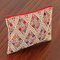 Cotton cosmetic bag, 'Prints of Our Past' - Geometric Cotton Cosmetic Bag in Wheat from Mexico