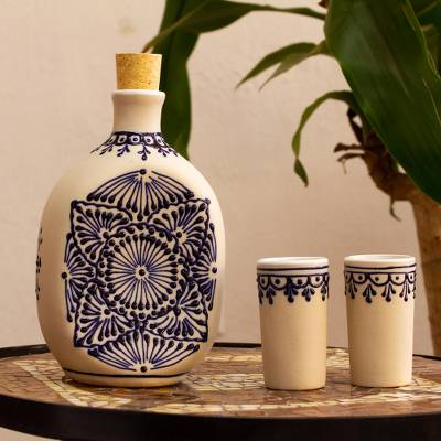 Beige Talavera Style Tequila Decanter and Glasses (Set of 3)