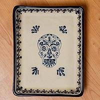 Ceramic serving dish, 'Sugar Skull Server' - Blue and Cream Day of the Dead Skull Ceramic Serving Dish