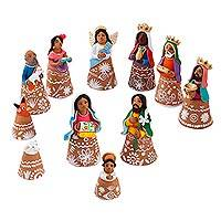 Ceramic nativity scene, 'Nativity Scene Bells' (12 pieces) - Handcrafted Ceramic Nativity Scene Bells (12 pieces)