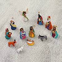 Ceramic nativity scene, 'Traditional Holy Night' (12 piece) - Handcrafted Colorful Ceramic Nativity Scene (12 pieces)