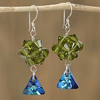 Swarovski crystal dangle earrings, 'Verdant Charm' - Green and Blue Swarovski Crystal Dangle Earrings from Mexico