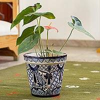 Ceramic flower pot, 'Cool Breeze Garden' (9 inch) - Talavera Style Blue Floral Motif Ceramic Flower Pot (9 inch)