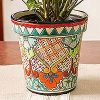 Ceramic flower pot, 'Sunlit Garden' (6.5 inch) - Talavera Style Colorful Floral Ceramic Flower Pot (6.5 inch)