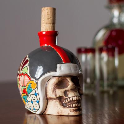 Skull Wearing Floral Helmet Ceramic Tequila Decanter
