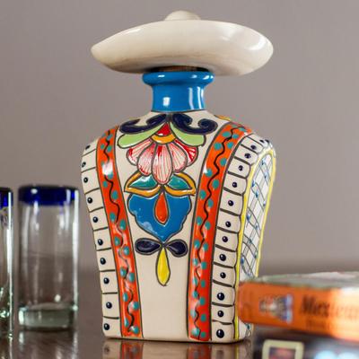 Orange and Colorful Serape and Hat Ceramic Tequila Decanter