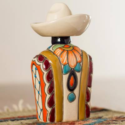 Ceramic tequila decanter, 'Serape in Maize' - Maize and Colorful Serape and Hat Ceramic Tequila Decanter