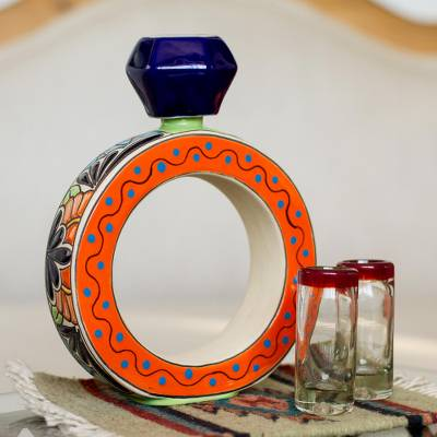 Blue and Orange Ring Shape Ceramic Tequila Decanter