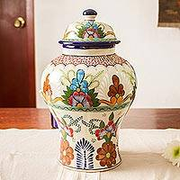 Featured review for Ceramic decorative vase, Talavera Flowers