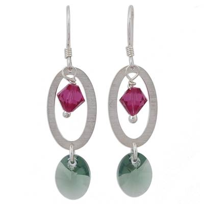 Swarovski crystal dangle earrings, 'Crystal Enchantment' - Pink and Green Swarovski Crystal Dangle Earrings from Mexico