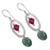 Swarovski crystal dangle earrings, 'Crystal Enchantment' - Pink and Green Swarovski Crystal Dangle Earrings from Mexico (image 2b) thumbail