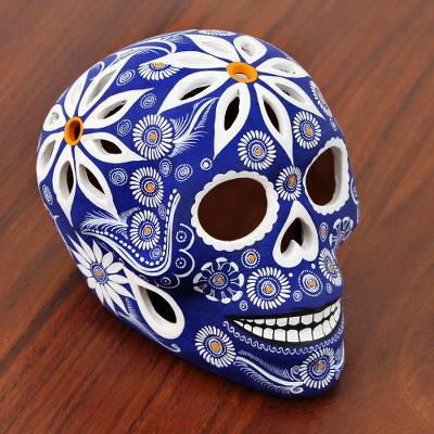 Ceramic figurine, 'Skull of White Flowers' - Floral Blue Ceramic Skull Figurine from Mexico