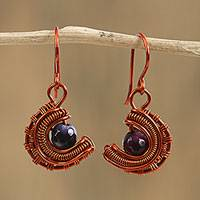 Agate dangle earrings, 'Nested Ember' - Copper Wire Wrapped Purple Agate Bead Dangle Earrings