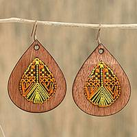 Cotton embellished wood dangle earrings, 'Peaceful Raindrops' - Wood Dangle Earrings Embroidered with Orange and Yellow