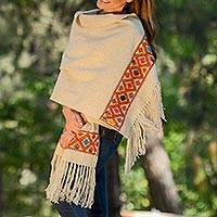 Wool shawl, 'Sand Geometry' - Handwoven Wool Shawl in Sand from Mexico