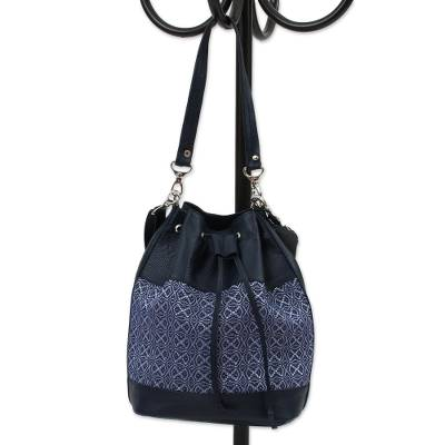 Cotton Accent Leather Bucket Bag in Midnight from Mexico