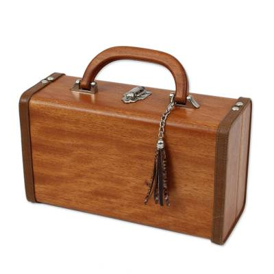 Handcrafted Leather Lined Okoume Wood Suitcase Style Handbag