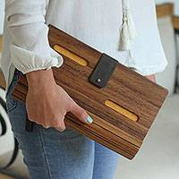Wood clutch, 'City Savvy in Yellow' - Wood and Yellow Leather Accent Clutch with Detachable Strap